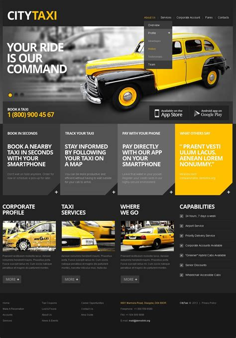 Taxi Website Template 42804 Taxi Website Template