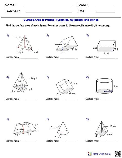 printable math worksheets volume of pyramid geometry surface area and volume worksheets worksheets
