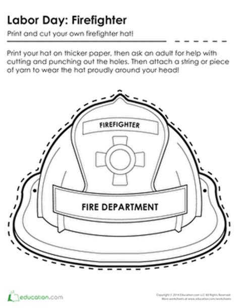 fireman hat template printable firefighter hat coloring page education