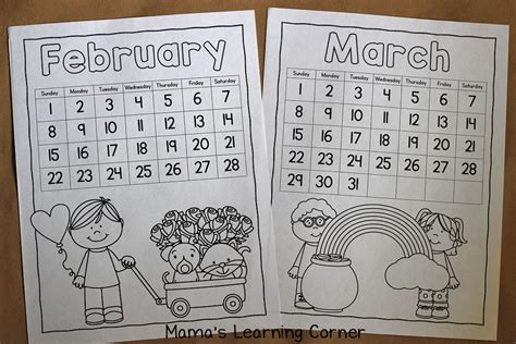 your own calendar with pictures color your own calendar mamas learning corner