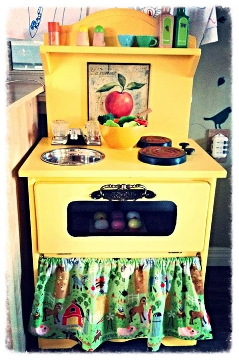 diy play kitchen for kid from old nightstand furniture from an old nightstand to an adorable play kitchen your