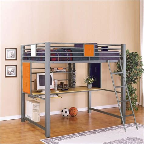 metal loft bed with desk powell trends size metal loft bed with study desk