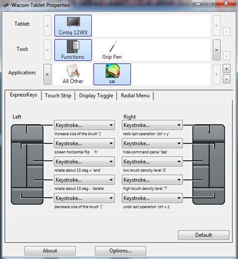 wacom cintiq companion 2 paint tool sai wacom sai settings shortcuts by maszeq on deviantart