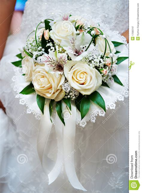 bouquet in hand bride royalty free stock
