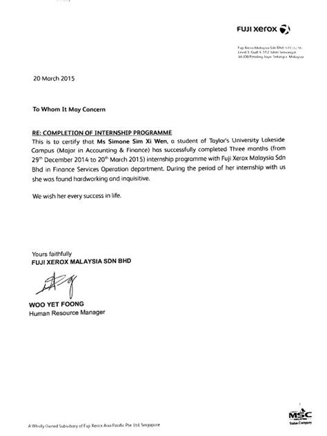 Cover Letter Exles For Current Employer by Cover Letter For Internship With Reference 28 Images