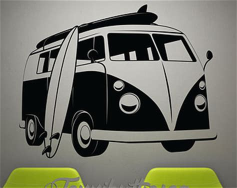 volkswagen van with surfboard clipart vw surf decor etsy