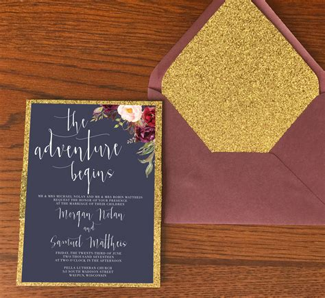 Navy Wedding Border by Navy Gold And Marsala Wedding Invitation With Glitter Gold