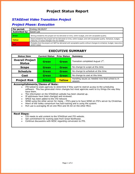 status report sle project status report template word 2010 28 images