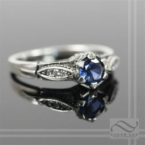 vintage style sapphire and engagement ring by