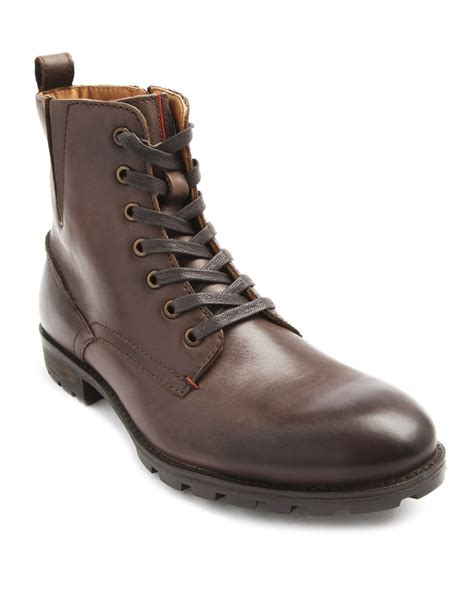 mens hilfiger boots hilfiger darren brown zipped boots in brown for