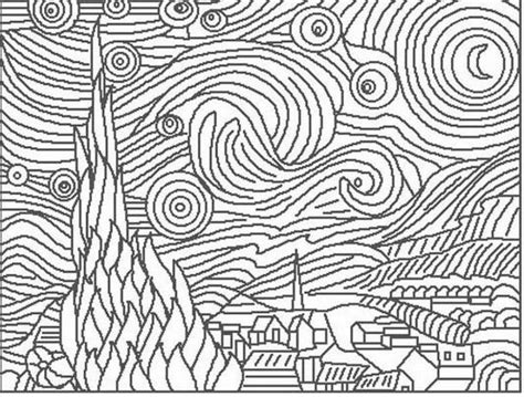 coloring page gogh starry the starry coloring page coloring home