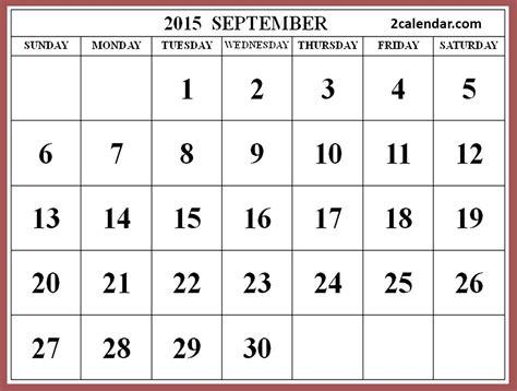 Calendar For September 2015 2015 September Calendar