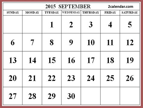 Calendar 2015 September Holidays 2015 September Calendar