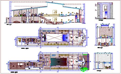building floor plan detail and elevation view detail dwg file club house design view dance floor plan elevation