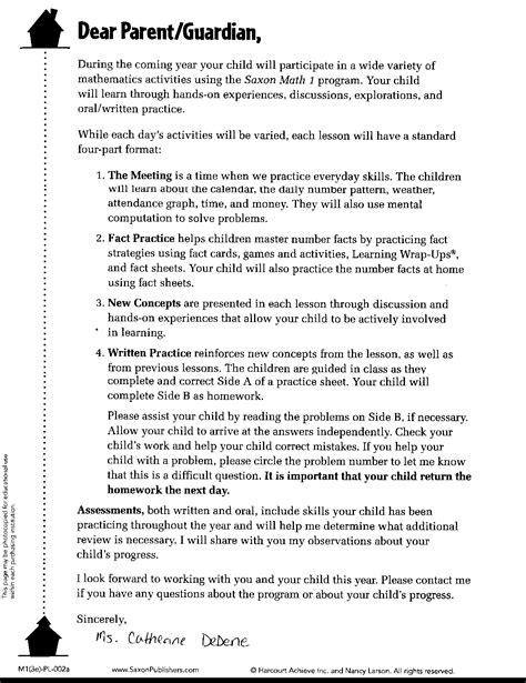 Parent Letter About Math Facts Creek Grade