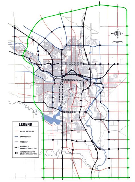 Calgary Outline by The Ring Road System Initial Outlines 1956 To 1970 Calgary Ring Road