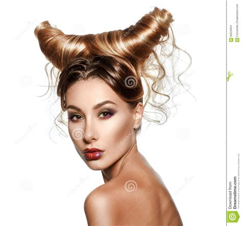 Womens Haircut Fantasies   fashion art portrait of sexy beautiful woman with horns