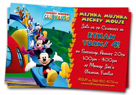 Free Mickey Mouse Clubhouse 1st Birthday Invitations Drevio Invitations Design Mickey Mouse Invitation Template