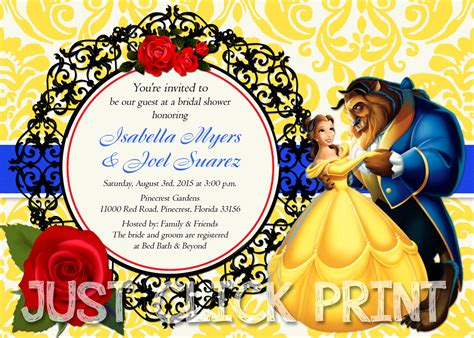 and the beast birthday card template and the beast bridal shower or birthday invitation