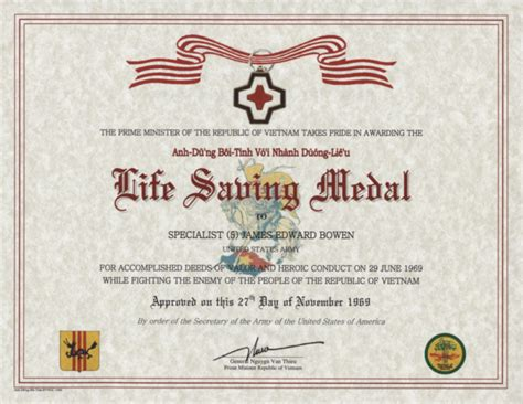 republic of vietnam life saving medal certificate