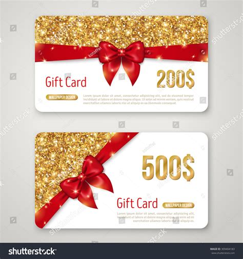 gift card design gold glitter texture stock vector