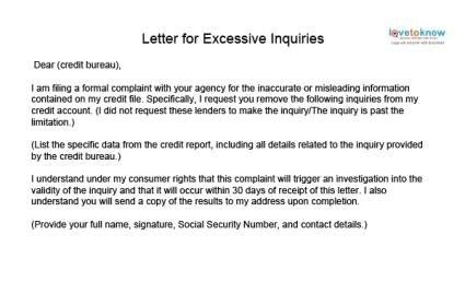 Dispute Letter For Credit Inquiries how to remove inquiries from credit report sle letter