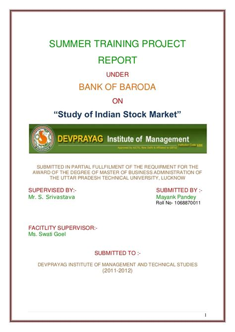 Mba In Stock Market In India by Study Of Indian Stock Market