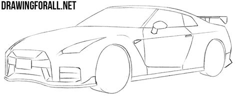 nissan skyline drawing step by step how to draw a nissan gt r drawingforall net