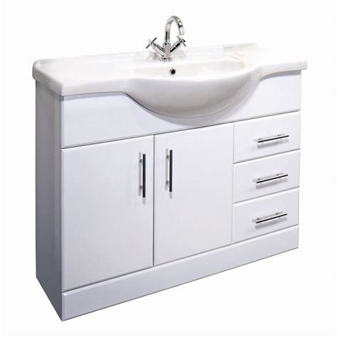 white gloss vanity unit with ceramic basin sink all sizes for bathroom cloakroom ebay