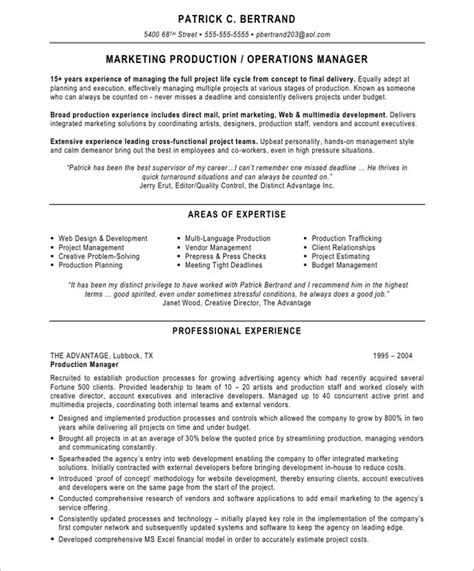 marketing production manager free resume sles blue sky resumes