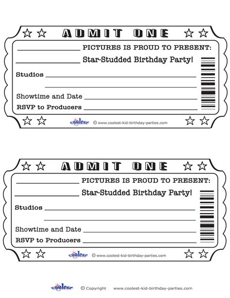 Movie Ticket Template Cyberuse Blank Ticket Invitation Template