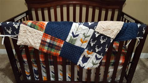 Plaid Boy Crib Bedding Baby Boy Crib Bedding Navy Buck Orange Navy Plaid Navy