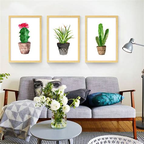 cartoon wall painting in bedroom simple cactus green plant canvas prints cartoon painting bedroom wall stickers canvas