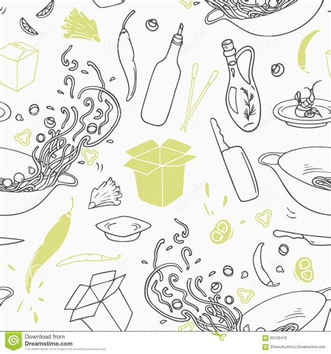 seamless pattern hand drawn stylized seamless pattern with hand drawn wok restaurant