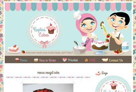 Design Banner Blog | kupkui cakes blog design ipietoon cute blog design