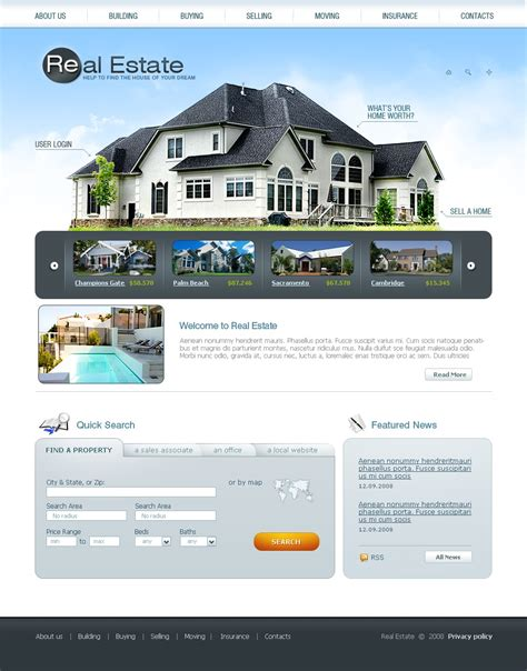 templates for real estate website real estate agency website template 24154