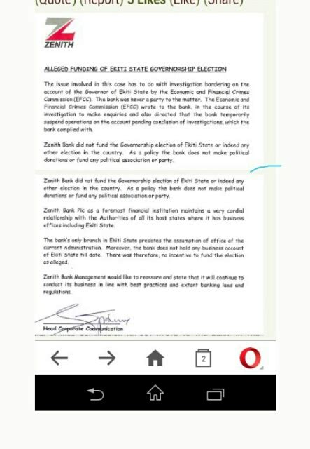 zenith bank issues press release denying involvement in funding fayose politics 2 nigeria