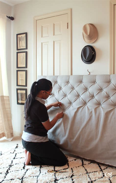 making a padded headboard with buttons diy diamond tufted headboard 2