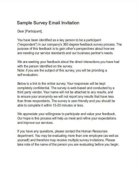 survey invitation email template 7 invitation email exles sles pdf word