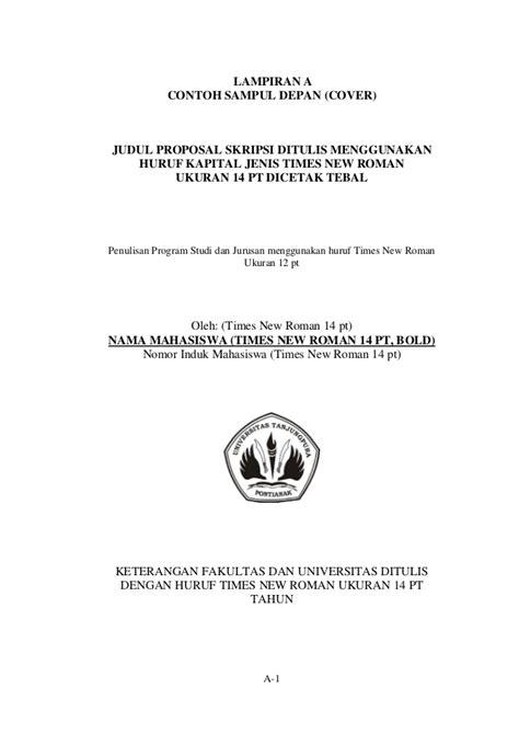 format penulisan cover skripsi pedoman isi skripsi 29 mei 2009