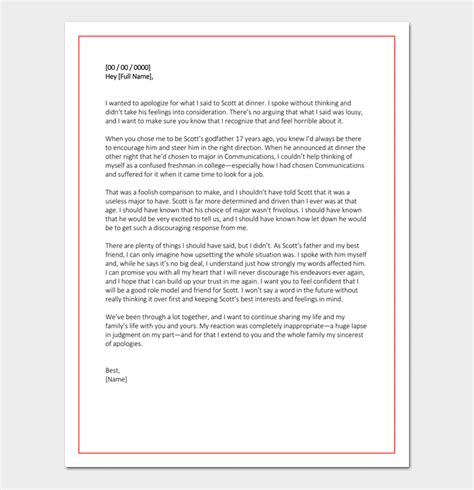 personal apology letter samples examples