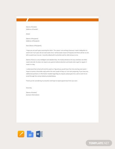 simple request letter template word google docs