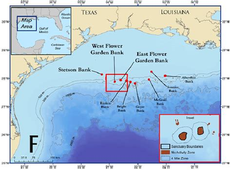 Flower Garden Banks National Marine Sanctuary Western Gulf Of Mexico And The Location Of The Flower Garden Banks