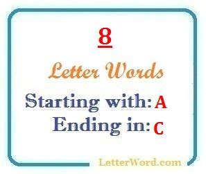 Eight Letter Words Starting With A