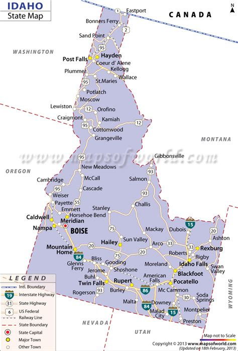 idaho map with cities idaho map free large images