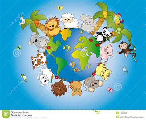 Animal World 5 animal world stock vector illustration of globe earth