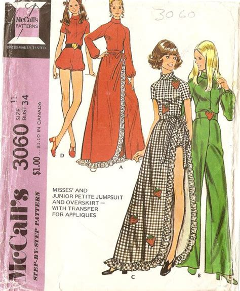 jumpsuit pattern free sewing 1970s womens jumpsuit playsuit pattern with long by