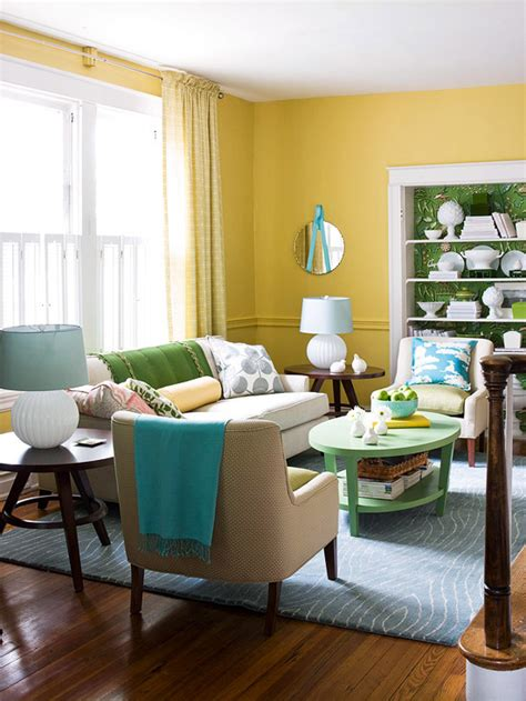Yellow Blue And Green Living Room Decorating Ideas For A Yellow Living Room Better Homes