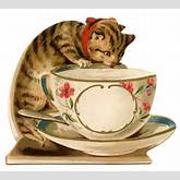 Vintage Image - Cat with Teacup - The Graphics Fairy