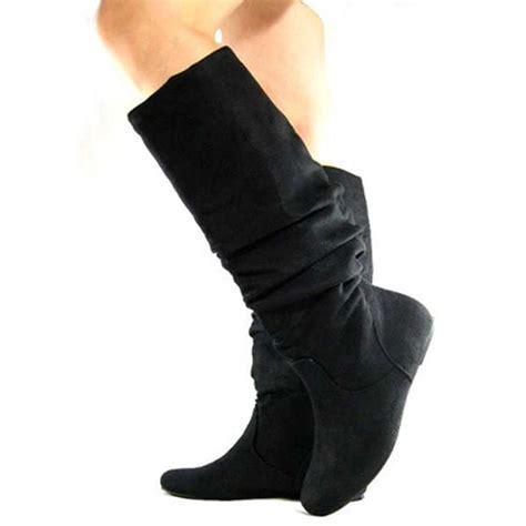 black suede slouch scrunch slip on dress flat womens knee